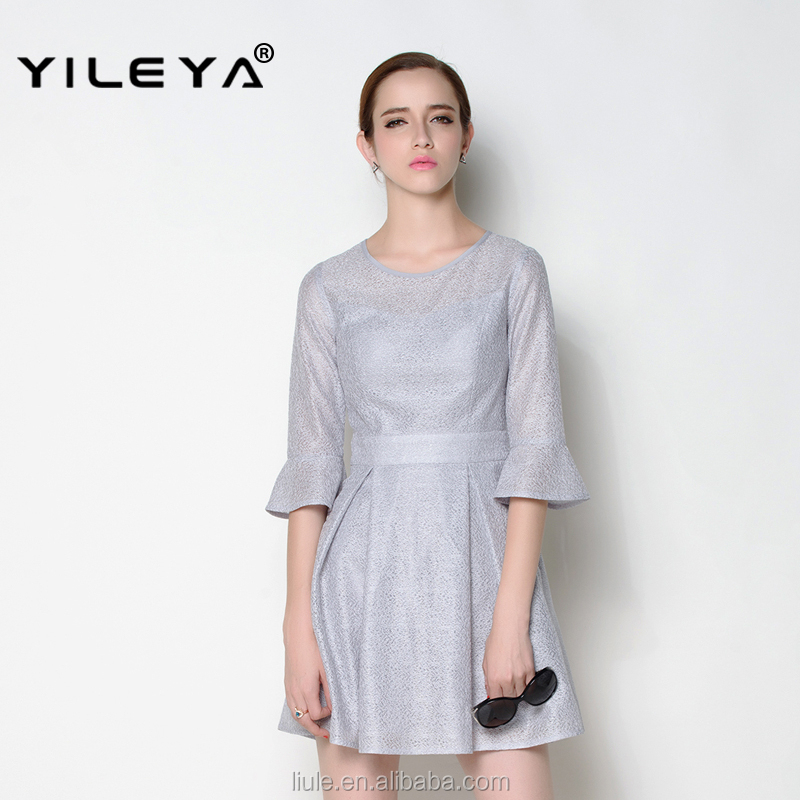 elegant o neck half horn sleeve transparent fabric used sexy cute party girl dress