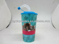 18OZ reusable plastic straw cup