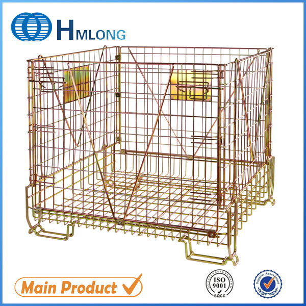 welded wire mesh storage movable industrial metal basket