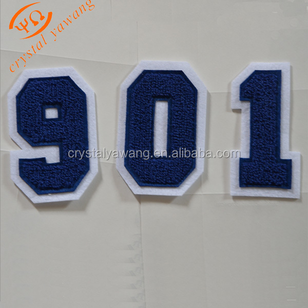 Custom number heat press iron on full embroidered emblem patch