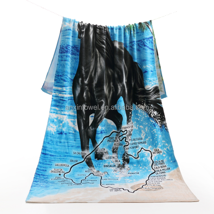 EAswet blank beach towels horse beach towel beach towel