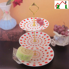 European style ceramic 3 tiers decal ceramic cake stand with your logo design for gift