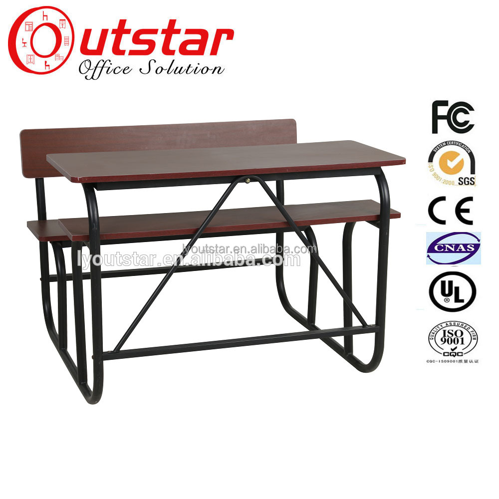 Cheap school furniture knock down wood two person desk with bench