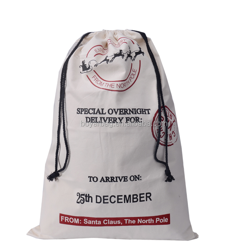High quality best sale cotton Christmas drawstring bag