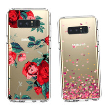 2017 Cover For Galaxy Note 8 Case New Flower Love Design Custom Printing Transparent Clear Crystal TPU For Samsung Note8 case