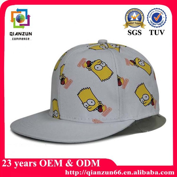 cartoon backsnap cap/kids flat bill cap/children snapback cap