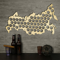 Wall Mounted Russian Beer Cap Map Russia Federation Hanging Wooden Beer Bottle Caps Display Board