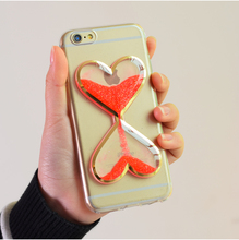 2018 Hot selling products transparent fluorescence light heart liquid sand soft TPU mobile phone case for iphone 6s case