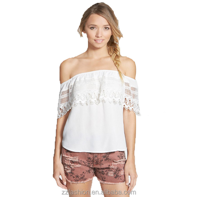 Latest Fashion Juniors Crochet Ruffle Tops Boho Style Soft Ladies Off Shoulder Woman Blouse