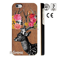 China trust manufacture supplies high quality printed wood case cover for iphone 6