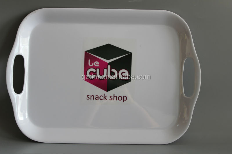 Custom print melamine trays with 2 handles