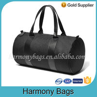 Durable polyester Round shaped black duffle bag