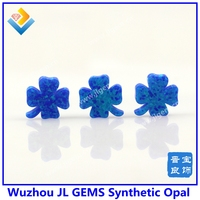 OP05 Drak Blue High Quality Synthetic Clover stem Opal Gemstone For Lucky