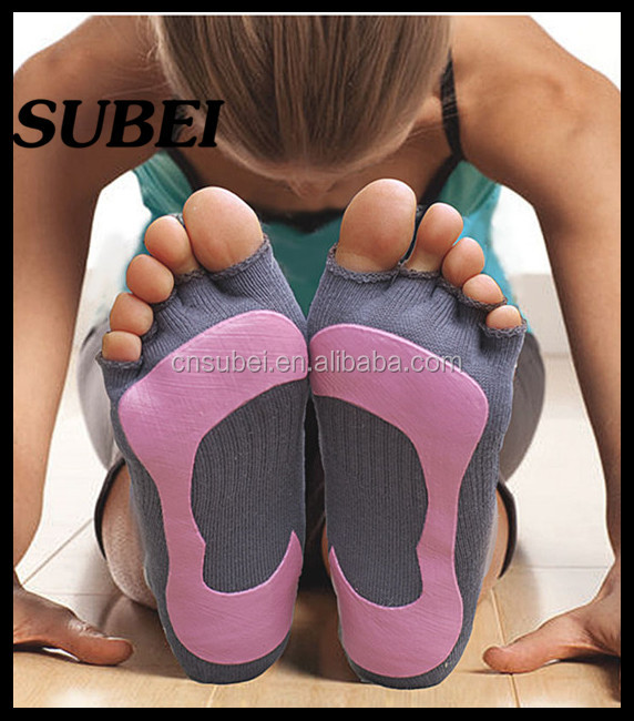 Arch support & Open toe non-slip breathable cotton knitted yoga pliate socks