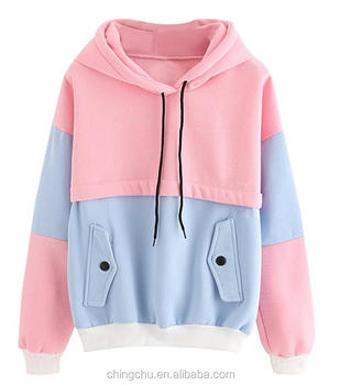 Fashion Sweatshirt Women Colorblock Pullover Fleece Hoodie for woman Autumn Clothing