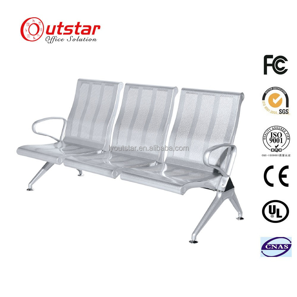 Hot sale high back silver oil color metal airport 3 seats waiting seaters