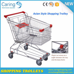 Asian Style Supermarket Shopping Trolley with Coin Lock