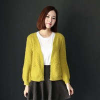 W6234 2015 autumn and winter women loose mohair knit cardigan fashion sweaters