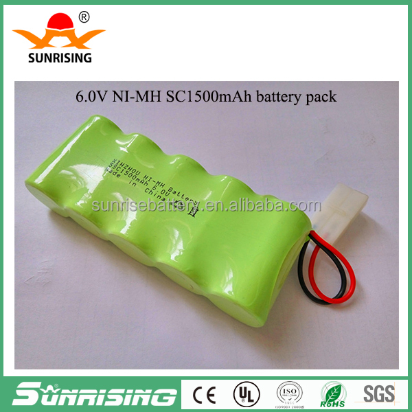 china factory price ni-cd 6V sc1500mah rechargeable battery pack/battery batteries for solar light