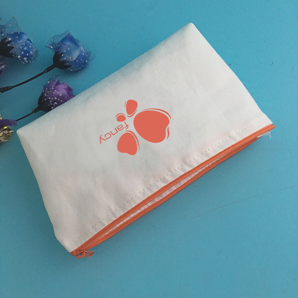Eco-friendly small zippered cosmetic pouch with orange printing