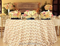 "SHIPS IMMEDIATELY, 156"" Round Chevron Sequin Tablecloth, Chevron Sequin Cake Table, Chevron Sequin Sweetheart Table for Wedding"