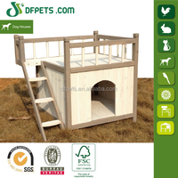 Small Dog House Wood 2 Story Home Kennel Pet Puppy Wooden Doghouses Outdoor Lawn DFD3008S