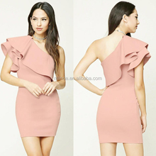 Ladies Casual Clothing Inexpensive Pink Sexy Midi High Quality Cute One Shoulder Design Dress For Girls Clubwear 2017