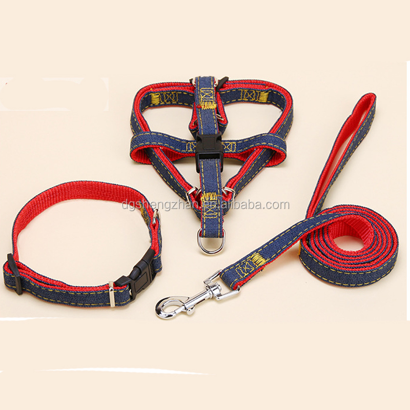 Customer OEM order accept jeans fabric nylon pet cat custom dog collar