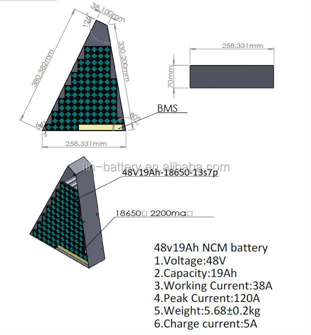 Triangle type electric bicycle battery pack 48v 18ah