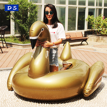 Hot selling unicorn swim floating rider giant inflatable black/gold swan pool float