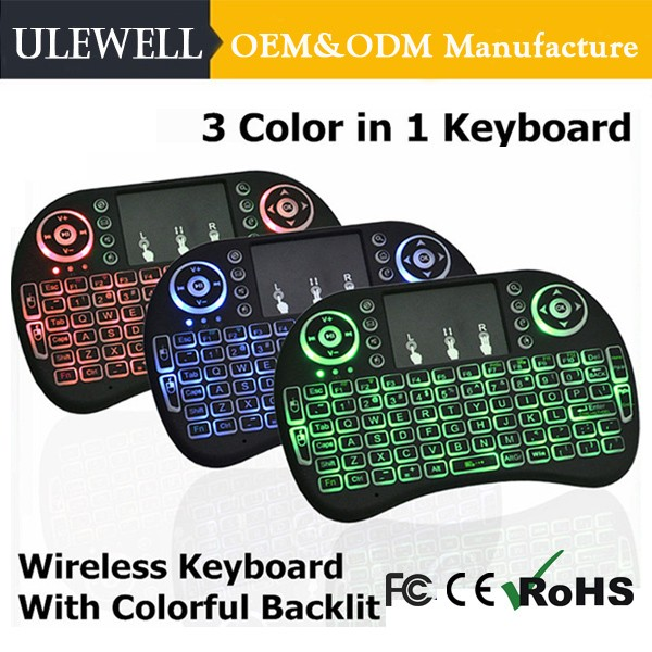 Ulewell I8 Pro Arabic Azerty Backlit Mini Electronic Gaming Mechanical USB Touchpad 4.2G Wireless Mouse Keyboard For Android