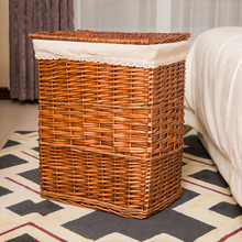 Natural Wicker Hamper Lined Toy Or Laundry Basket