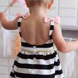 SEVWEN 2018 Preppy Style Kids Dresses stripe Fashion O-neck backless Ruffles Baby Girl Dress