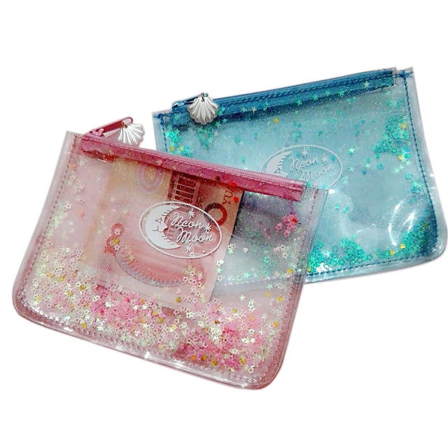 Cheap candy color glitter sequin pouch fashion girl travel pvc transparent cosmetic bag