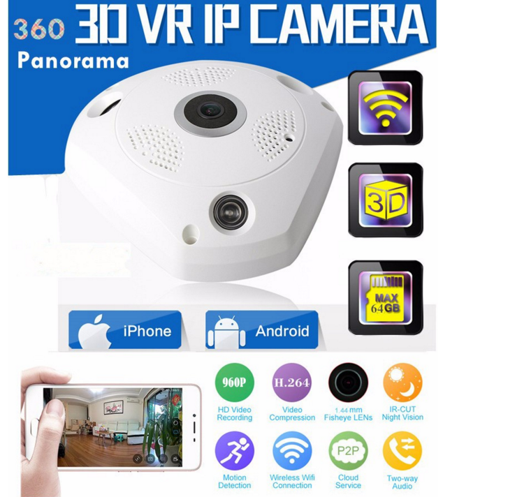 HD 1080P Wireless IP Camera wifi hidden CCTV P2P 360 Degree VR Camera
