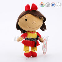 wholesale 3D face plush girl black dolls toys