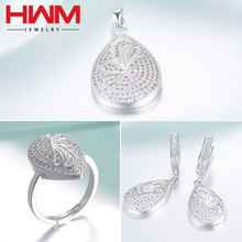 Wholesale silver 925 ladies sterling silver platinum Plated bridal Jewelry Set indian bridal Women Jewelry Set