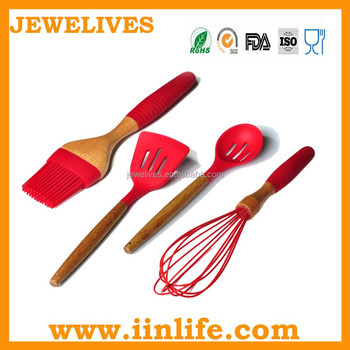 kitchen utensil set,silicone kitchen tools with bamboo handle