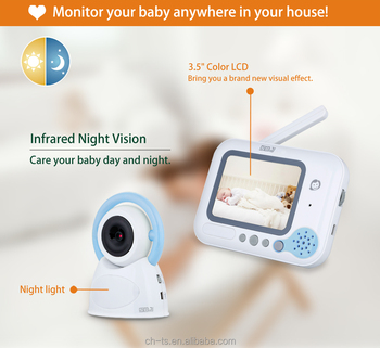 "2.4GHz Digital Platform 3.5"" LCD Screen Color Wireless Baby Monitor Camera Audio Video Infrared Night Vision,Music"