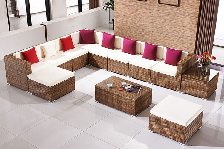 All Weader L Shape Wicker Sofa Bed with Square Table Furniture Garden General Use Patio Chairs