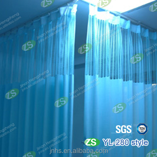 Waterproof Antibacterial Hospital Bed Screen Dust Prevention Curtain with Hooks