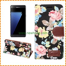 For Samsung Galaxy Note 5 Denim Flower Style Flip Leather Wallet Cover Case