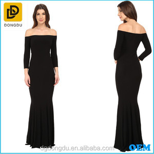 Latest design Floor-length Straight Off-the-shoulder Neckline Three-quarter Sleeves Formal Evening Gown