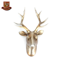 Exotic resin deer head elk antlers ornament animal wildlife sculpture for home hotel wall hanging decor
