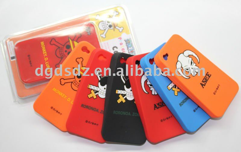 silicone mobile phone case for iphone 4 with silk creened printing