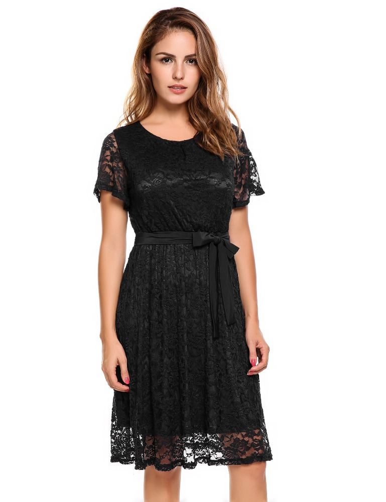 Short Sleeve Belted Fit and Flare Floral Lace Dress