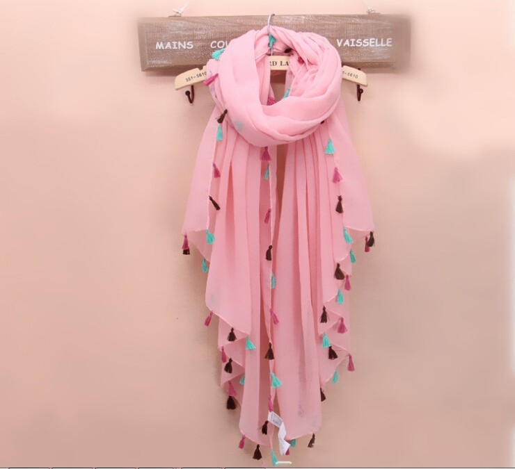 Manual fringed shawl New Fashion Lady Women's Long Candy colors Scarf Wraps Shawl Stole Soft Scarves printed shawl