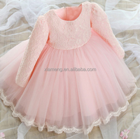 2016 Hot sell western party wear long sleeve pink dress for baby girls