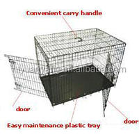 manufacturer two doors folding black iron dog crate, metal tray UK market