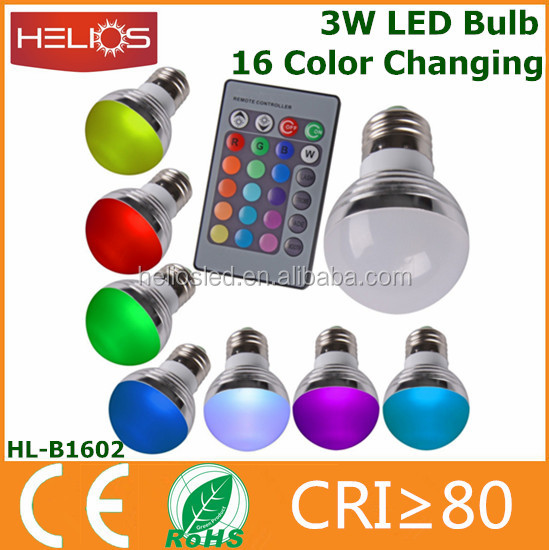 new products 2016 110v 220v 3w 16 color rgb led bulb with ir remote